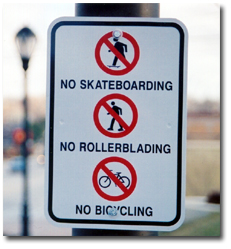 No Wheels Sign